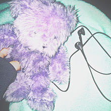 purple,紫,テディベア,イヤホン,病み,の画像(テディベアに関連した画像)