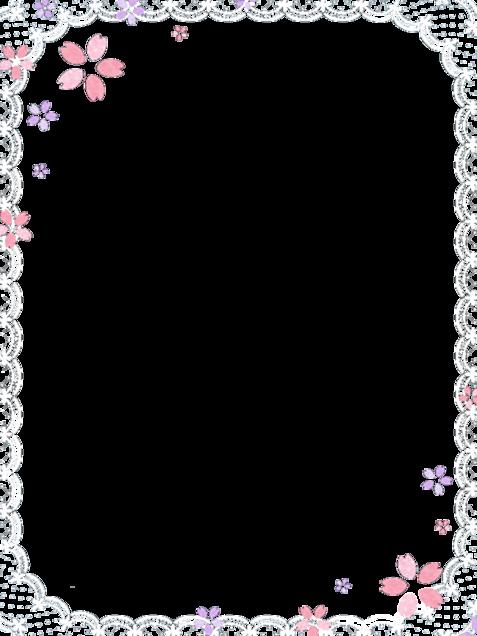 桜 フレーム 背景透過 レースの画像(プリ画像)