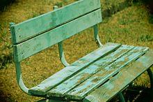 青いベンチの画像(一眼レフに関連した画像)