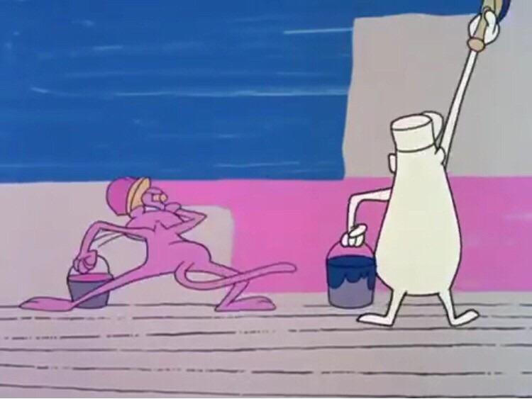 ペンキの早塗りをしているピンクパンサーとおじさんです。