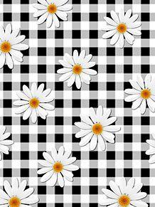 花柄 チェック 黒色 ブラックの画像(プリ画像)