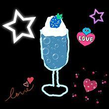 手作り画 青いちごのパフェの画像(パフェに関連した画像)