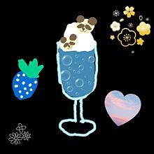 手作り画 [青]のパフェ 抹茶あずきのサンドケーキの画像(パフェに関連した画像)