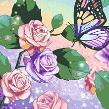数字で塗り絵 蝶々と花の画像(塗り絵に関連した画像)
