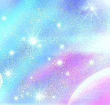 夢幻 無限 虹色 雲 光 流星 時 手描きの画像(プリ画像)