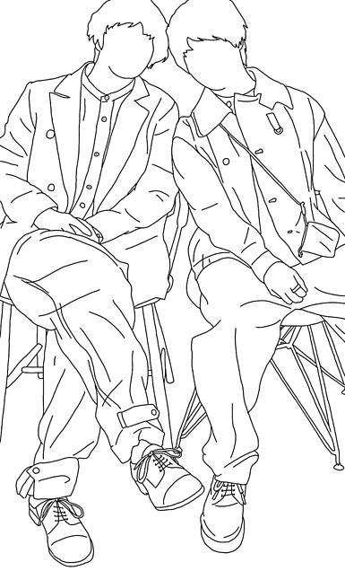 伊野尾慧 有岡大貴 線画いのありの画像(プリ画像)