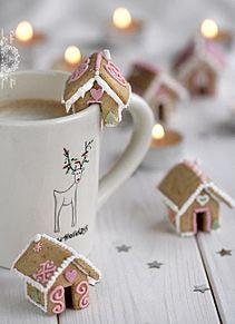 壁紙*ホットドリンクとお菓子の家の画像(プリ画像)