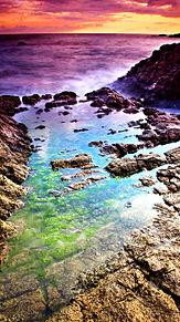 壁紙*虹色の海辺の画像(プリ画像)