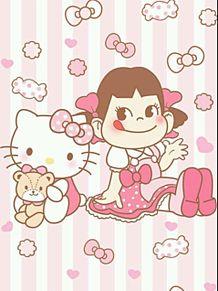 ペコちゃんとキティ壁紙の画像(プリ画像)