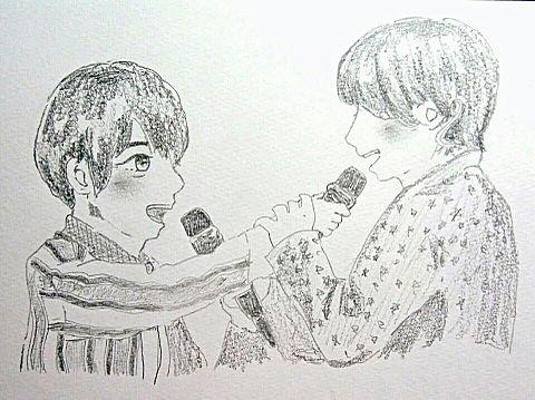 山Pと有岡大貴が一緒に歌を歌っている画像の画像(プリ画像)