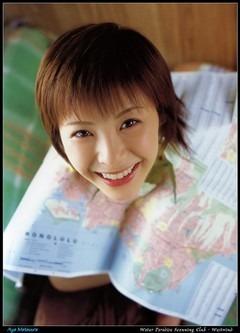 地図をかぶる松浦亜弥