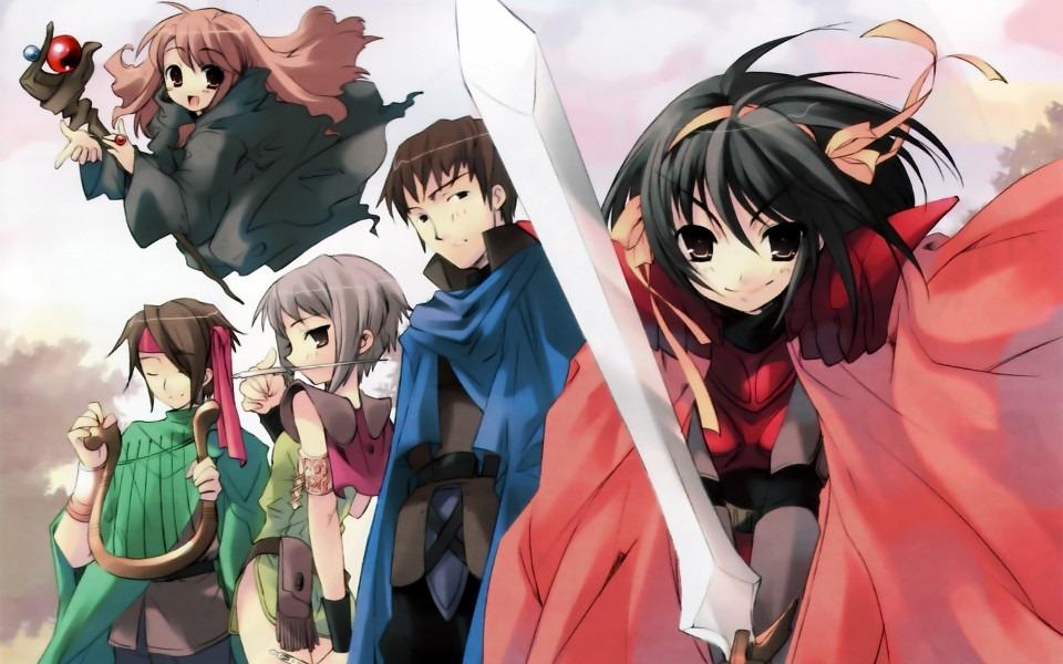 キャラクターたちがRPG風の衣装を着ている「涼宮ハルヒの憂鬱」の画像