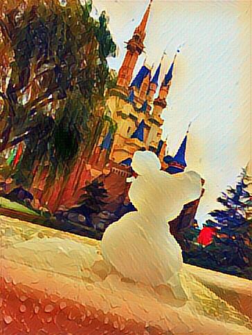 雪だるまミッキーとシンデレラ城の画像(プリ画像)
