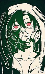 メカクシ団ガスマスク&ミッキーフード加工有の画像(プリ画像)