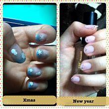 クリスマスネイルからお正月ネイルへの画像(お正月ネイルに関連した画像)