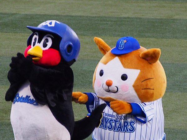 横浜のマスコットキャラクターのスターマンからおどかされそうなつば九郎です。