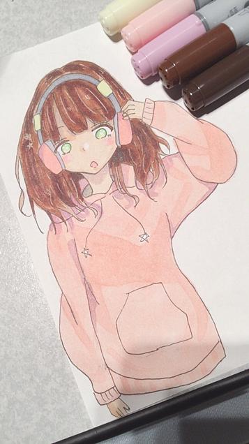 女の子【コピック初描き】の画像(プリ画像)