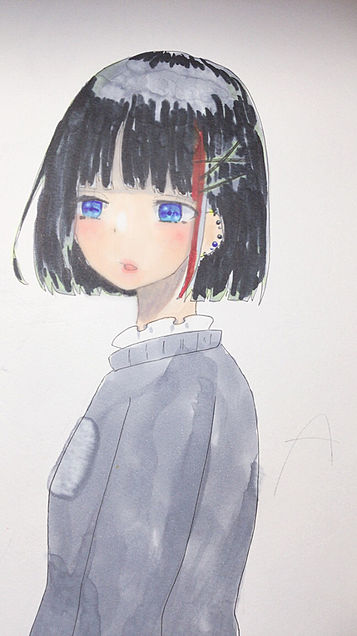 コピック落書き女の子の画像(プリ画像)