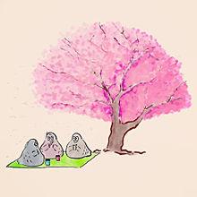 ハトくんとお花見の画像(雑貨に関連した画像)