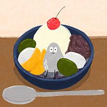 ハトくんとあんみつの画像(キャラクターに関連した画像)