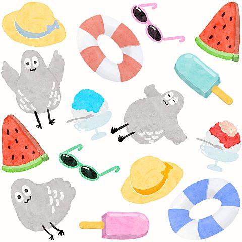夏とハトくんの画像(プリ画像)