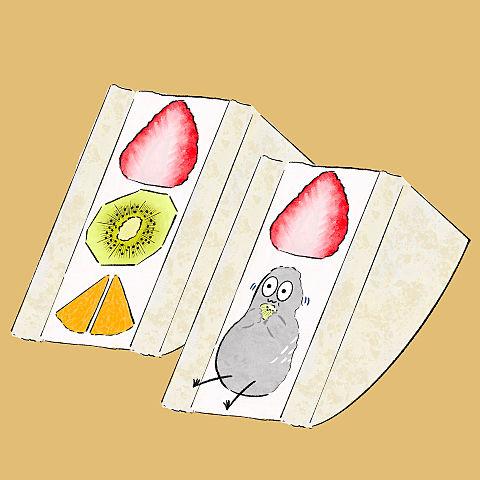 ハトくんとフルーツサンドの画像(プリ画像)