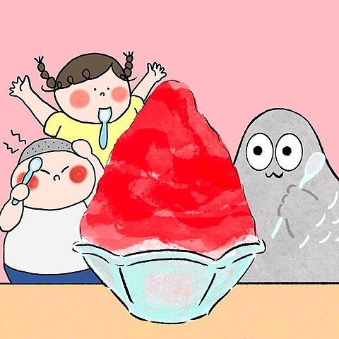 ハトくんとかき氷の画像(プリ画像)