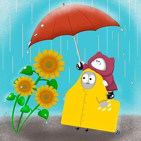 ハトくんと雨宿りの画像 プリ画像