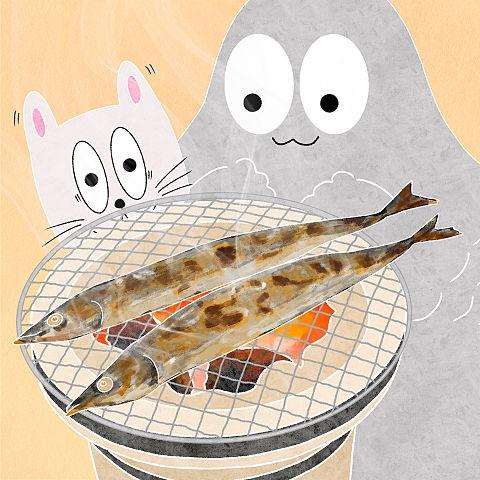 ハトくんとサンマの塩焼きの画像(プリ画像)