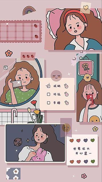 おしゃれ 可愛い イラスト 韓国 壁紙日本美学fhd