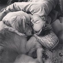 主人と犬 プリ画像