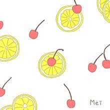 レモンチェリーさくらんぼイラスト手描き手書きパステル恋愛かわいいの画像(レモンに関連した画像)