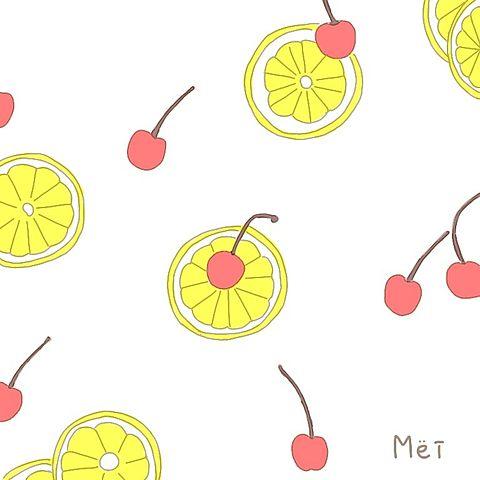 レモンチェリーさくらんぼイラスト手描き手書きパステル恋愛かわいいの画像 プリ画像