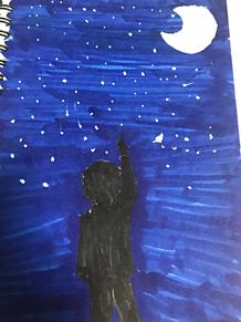 夜空と少年 プリ画像