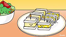 卵サンドと厚焼き玉子サンド