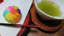 和菓子 練り切りと日本茶の画像(日本茶に関連した画像)