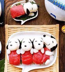 スヌーピー  お寿司  写真右下のハートを押してねの画像(お寿司に関連した画像)