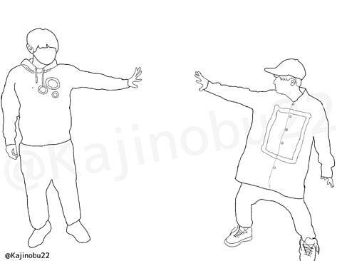 線画(梶裕貴&山下大輝)の画像(プリ画像)