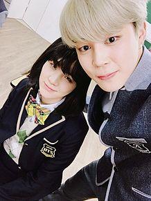 防弾少年団 BTS SUGA(女子高生)&JIMINの画像(プリ画像)