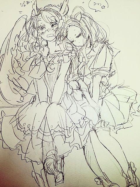 ユニコちゃんとペが子ちゃんのコラボ下書きの画像(プリ画像)