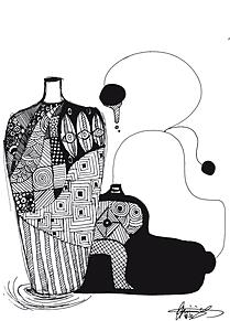 花瓶の画像(ボールペン画に関連した画像)
