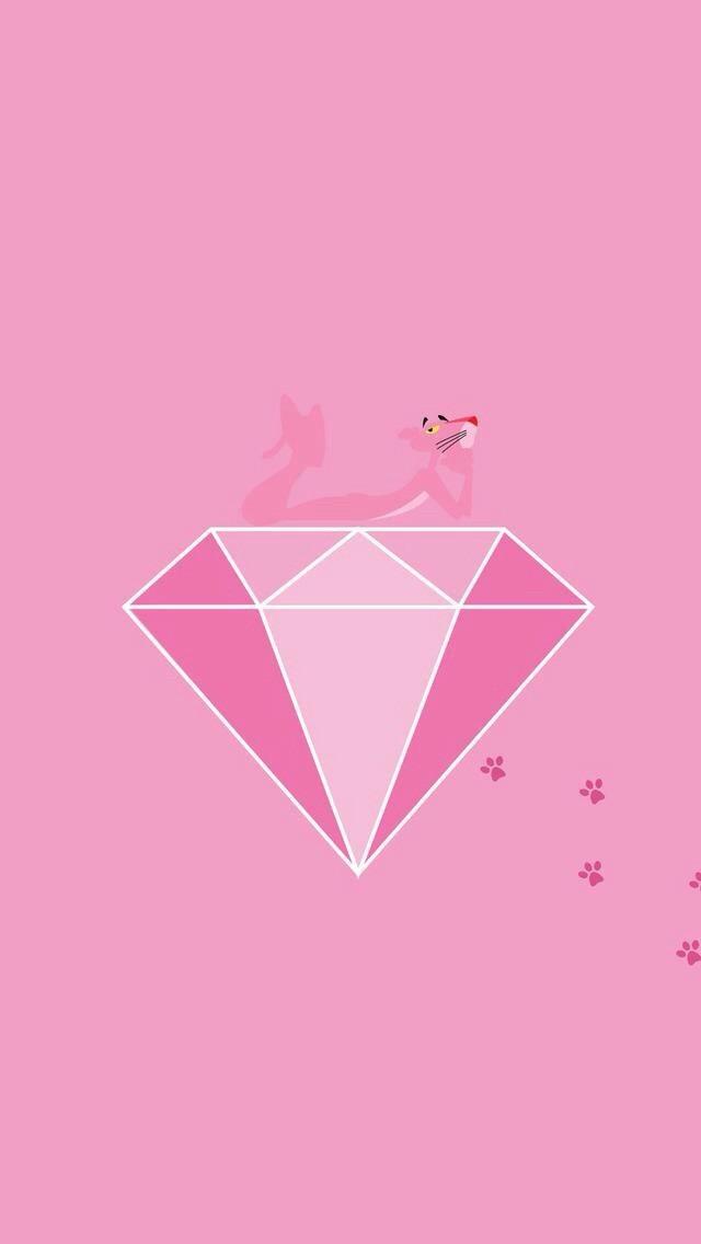 ピンクのダイヤの上に乗っているピンクパンサーです。