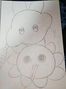 星のカービィ3(ラブラブステッキカービィ&グーイ) プリ画像