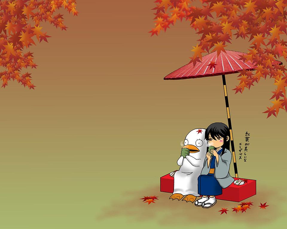 お茶を飲む小太郎とエリザベス高画質画像です。