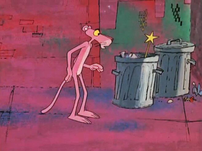 ステッキを見つけたピンクパンサーです。