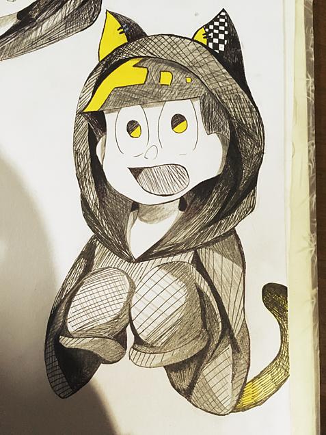 黒猫パーカー十四松の画像(プリ画像)