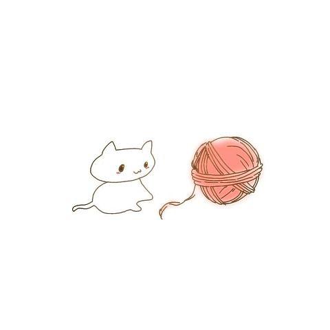 猫ネコねこ毛玉ポエム素材毛糸玉動物壁紙の画像(プリ画像)