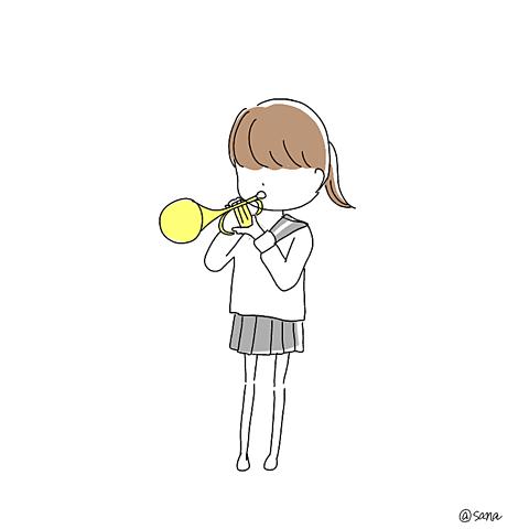 吹奏楽部ポエム素材チューバトランペットの画像(プリ画像)