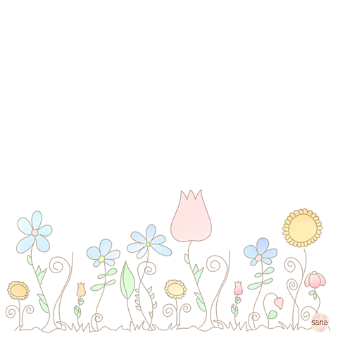 花畑ポエム素材ひまわりチューリップの画像(プリ画像)