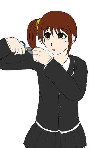 女子高校生のセルフカット(線画提供:るい)の画像(プリ画像)